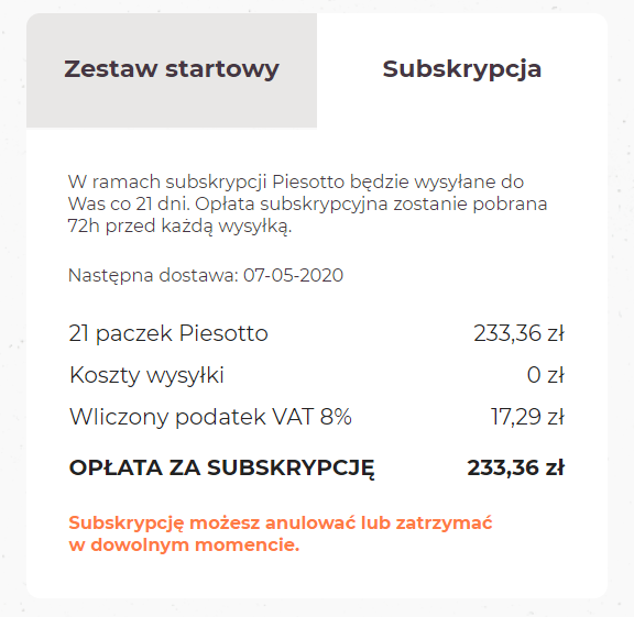 piesotto subskrypcja